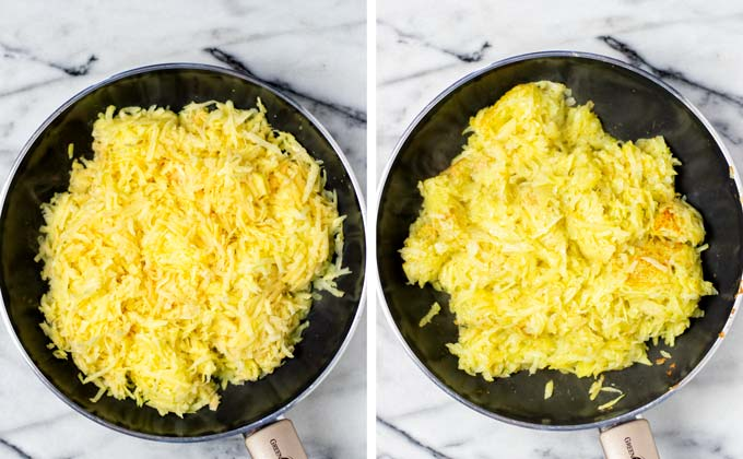 Shredded potatoes are prefried in a medium size frying pan.