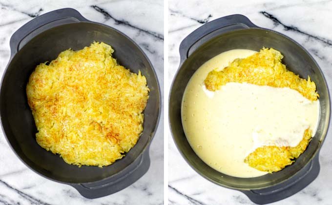 Pre-fried shredded potatoes are mixed with the white sauce in a large mixing bowl.