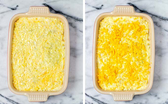 Potato mixture is transferred to a casserole dish and topped with more vegan cheese shreds.