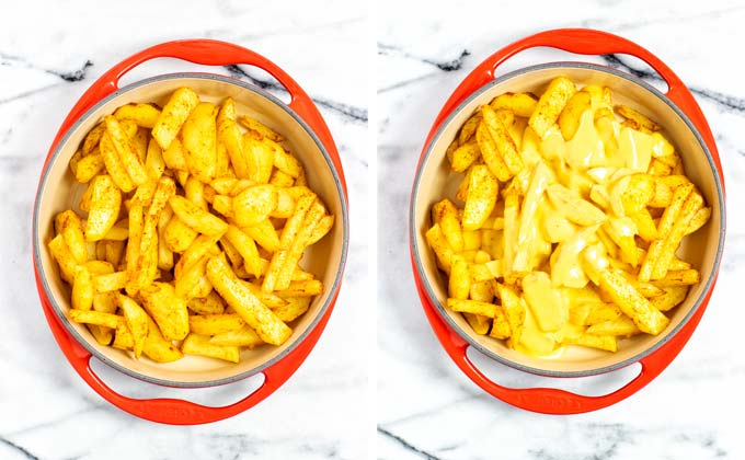 Assembling the Nacho Fries in a round casserole dish, starting with the fries and adding the Nacho sauce on top.