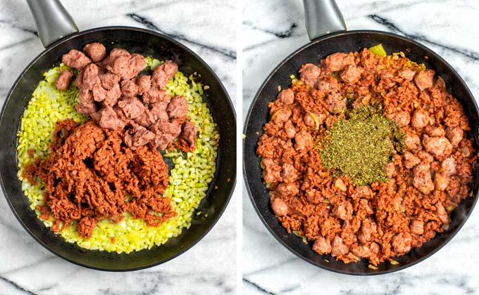 Vegan ground beef and vegan sausage bits are given to the frying pan with the pre-fried onions and the spice mix is added.