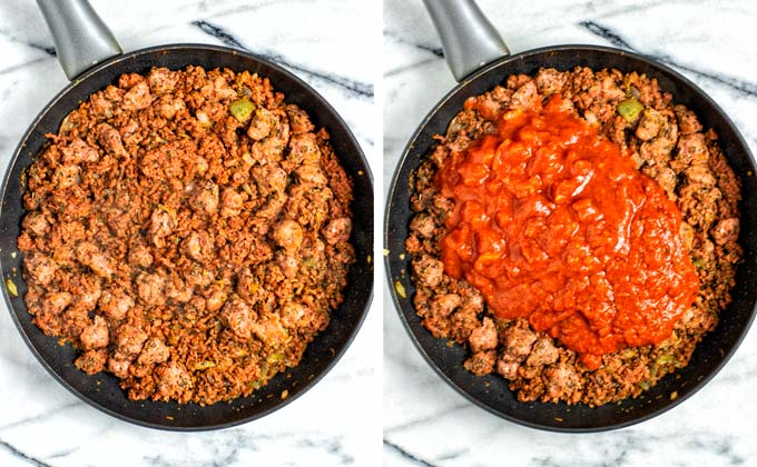 Showing the fried vegan meat and onion mix in the frying pan and the addition of crushed tomatoes.