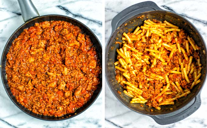Showing the completely prepared tomato-vegan meat sauce in a frying pan and after mixing with cooked pasta in a large bowl.
