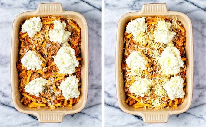 Finally showing the assembled Baked Ziti with vegan parmesan and mozzarella sprinkled over it.