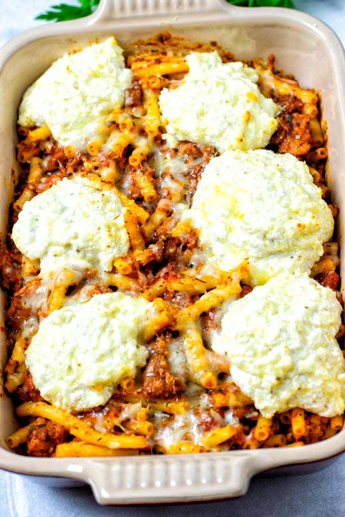 View of the vegan Baked Ziti in the casserole dish after baking.