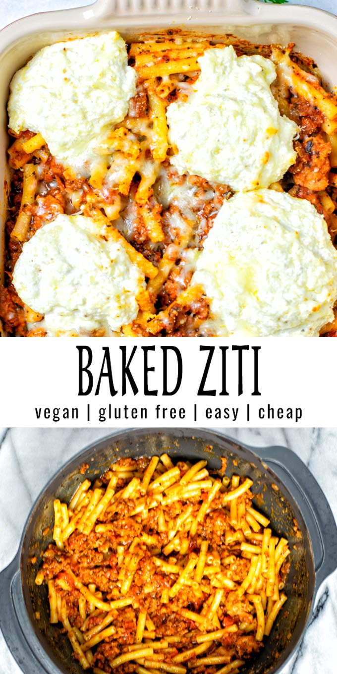 Collage of two pictures of the Baked Ziti with recipe title text.