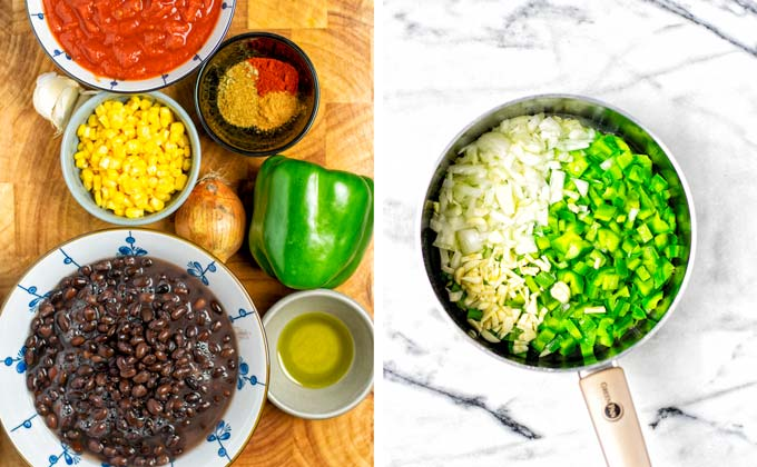Ingredients needed for this Black Bean Chili collected in small bowls on a wooden board.