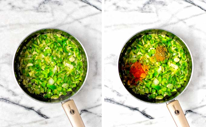 Showing how green bell pepper and onions are sauteed in a small saucepan, then spices are added.