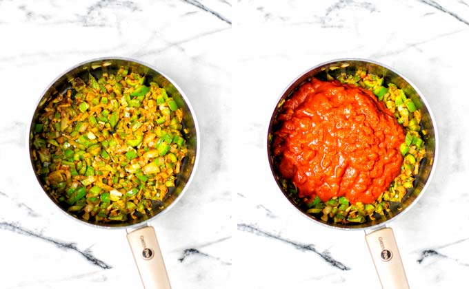Side by side view of the sauteed pepper and onion mixed with spices and after adding the tomato sauce.