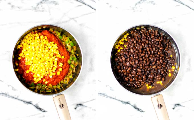 Side by side view of adding the corn and black beans to the large saucepan to make the Black Bean Chili.