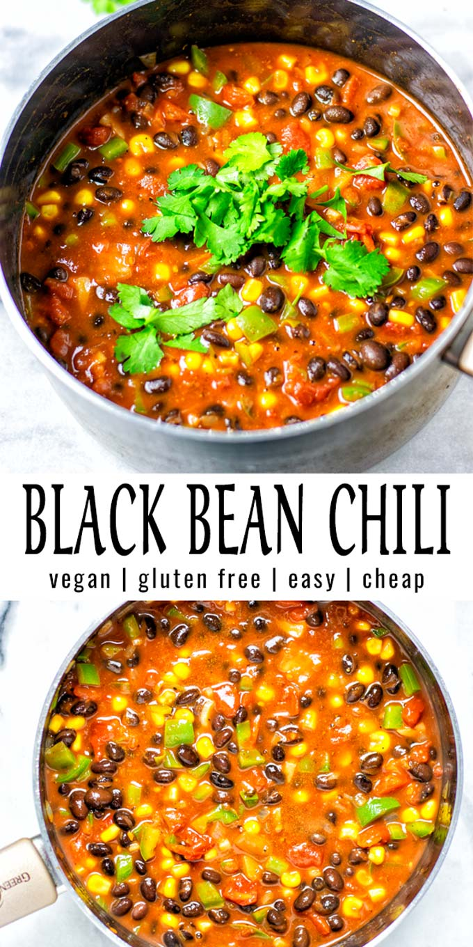 Collage of two pictures of the Black Bean Chili with recipe title text.