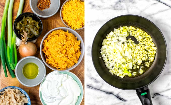 Ingredients for the Dorito Casserole are assembled on a wooden board and diced onions are fried in a small sauce pan.