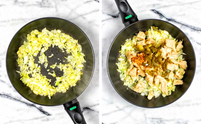 Showing how vegan chicken is added to the fried onions in the pan, together with jalapenos and a spice mixture.