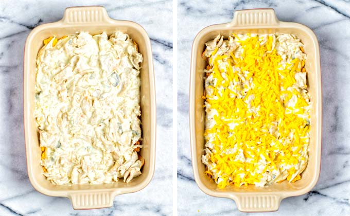 Showing the layering of the vegan chicken mixture and some vegan cheese.
