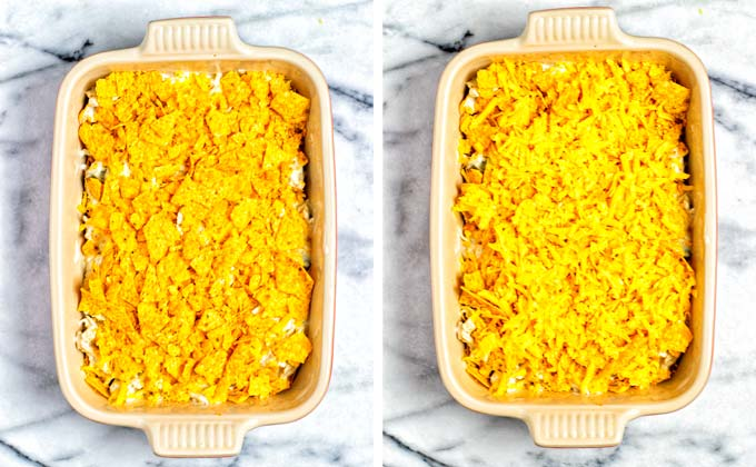 The top layer is made from more crushed tortilla chips and vegan cheese.