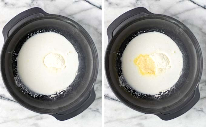 Showing how the other ingredient for the coating are added to the large bowl with the flour.