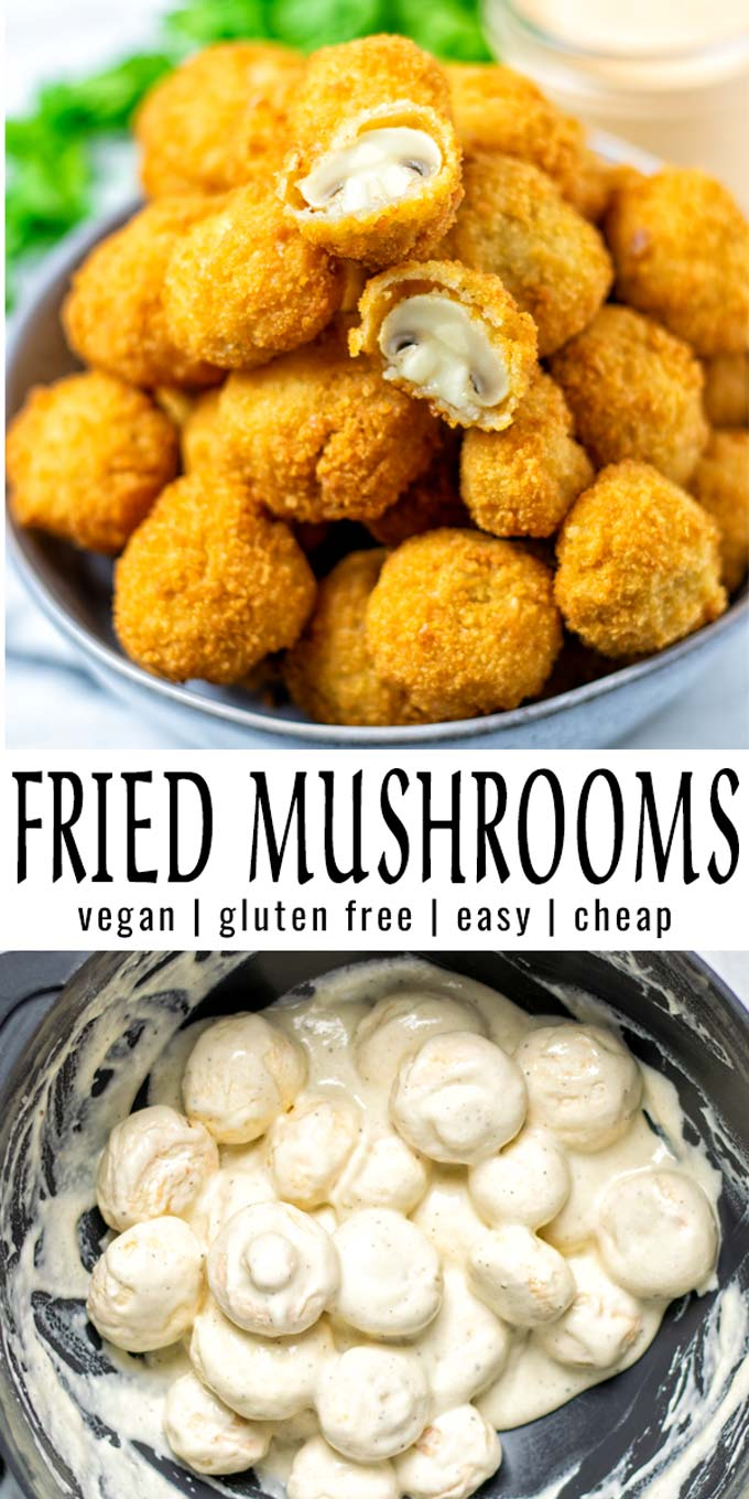 Collage of two pictures of the Fried Mushrooms with recipe title text.