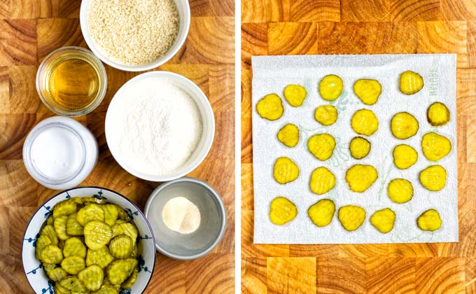 Ingredients for the Fried Pickles are collected in small bowls on a wooden board.