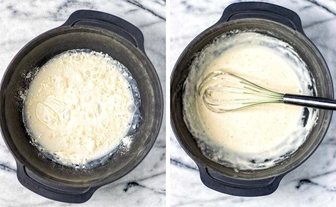 The batter is prepared in a large mixing bowl by combining flour, spices, and coconut milk. Showing before and after mixing.
