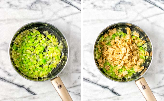 Side by side view of frying diced onions and celery and later vegan chicken in a saucepan.