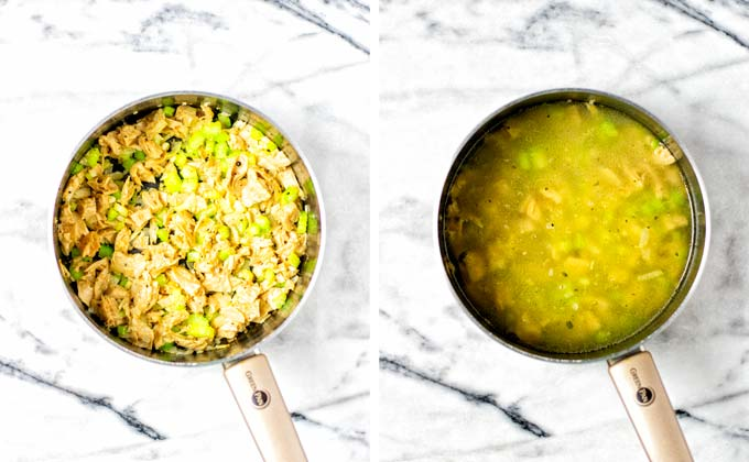 Showing the vegan chicken and vegetable mix before and after adding vegetable broth to the saucepan.