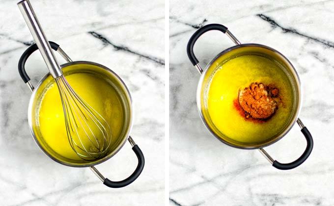 Showing side-by-side how first vegan butter is melted in a small metallic saucepan before spice mixture is added.