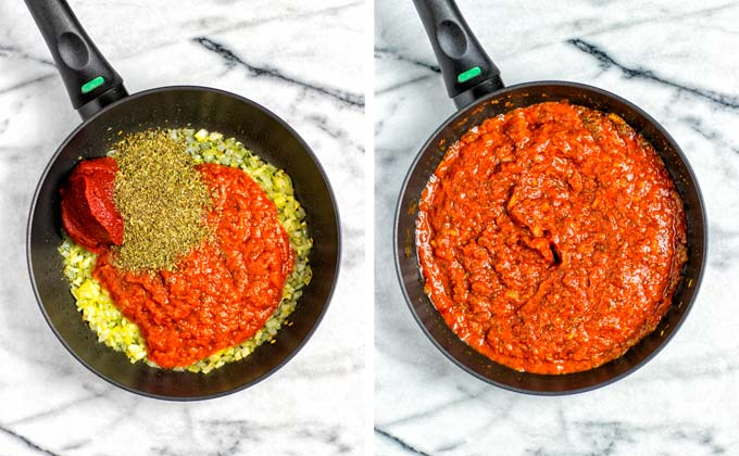 Showing steps in making the tomato sauce: frying finely diced onion, mixed with tomato paste and Italian herbs.