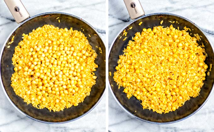 Side by side view of chickpeas being added to the frying rice, before and after mixing.