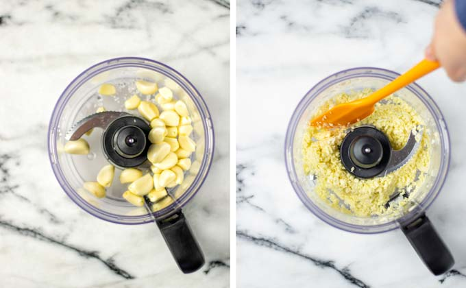 Showing side-by-side the garlic cloves in a food processor, before and after pulsing.