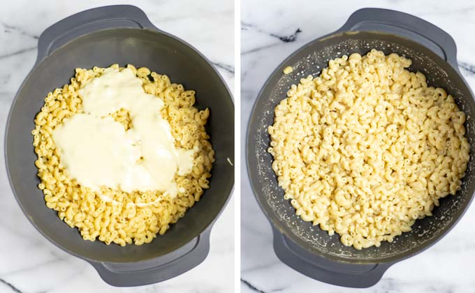 Side by side view how half of the dressing is given to the macaroni and mixed.