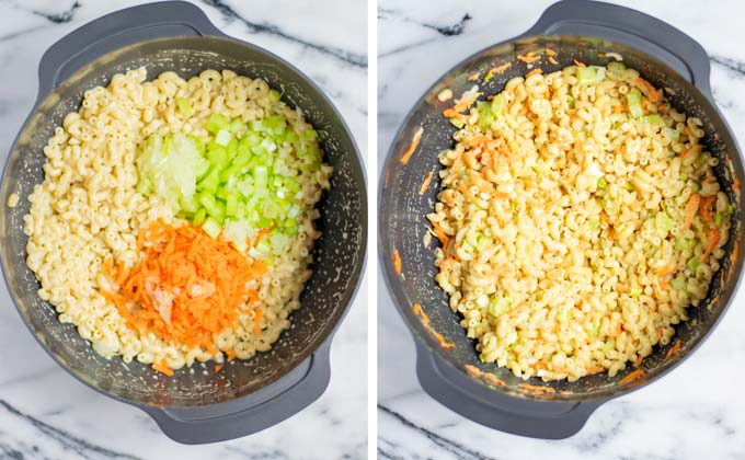 Shredded carrots, onions, and celery are mixed with the cooked macaroni.