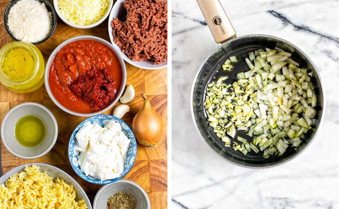Ingredients for making the Lasagna Soup collected in small bowls on a wooden board.