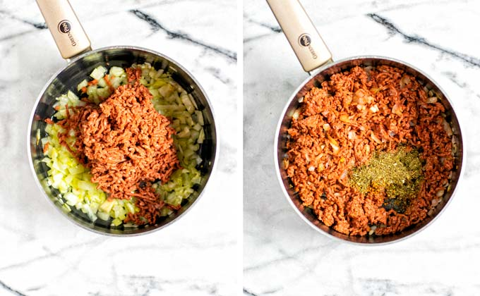 Showing side-by-side the frying of diced onions and vegan ground beef, before and after, with seasonings added.