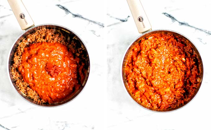 Showing how tomato sauce is added to the prefried mix of vegan ground beef and onions.