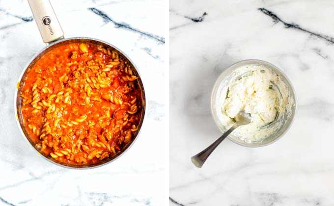 A side by side view of the finished Lasagna Soup and a small bowl with the vegan ricotta cheese topping.
