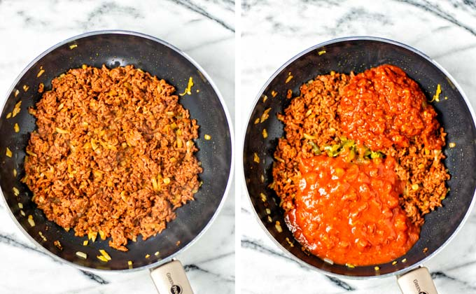 Side by side view of fried and seasoned vegan ground beef, with added tomato sauce and tomato paste.