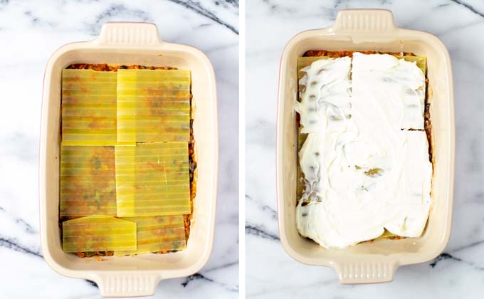 Showing the next two layers: lasagna noodles and vegan sour cream.