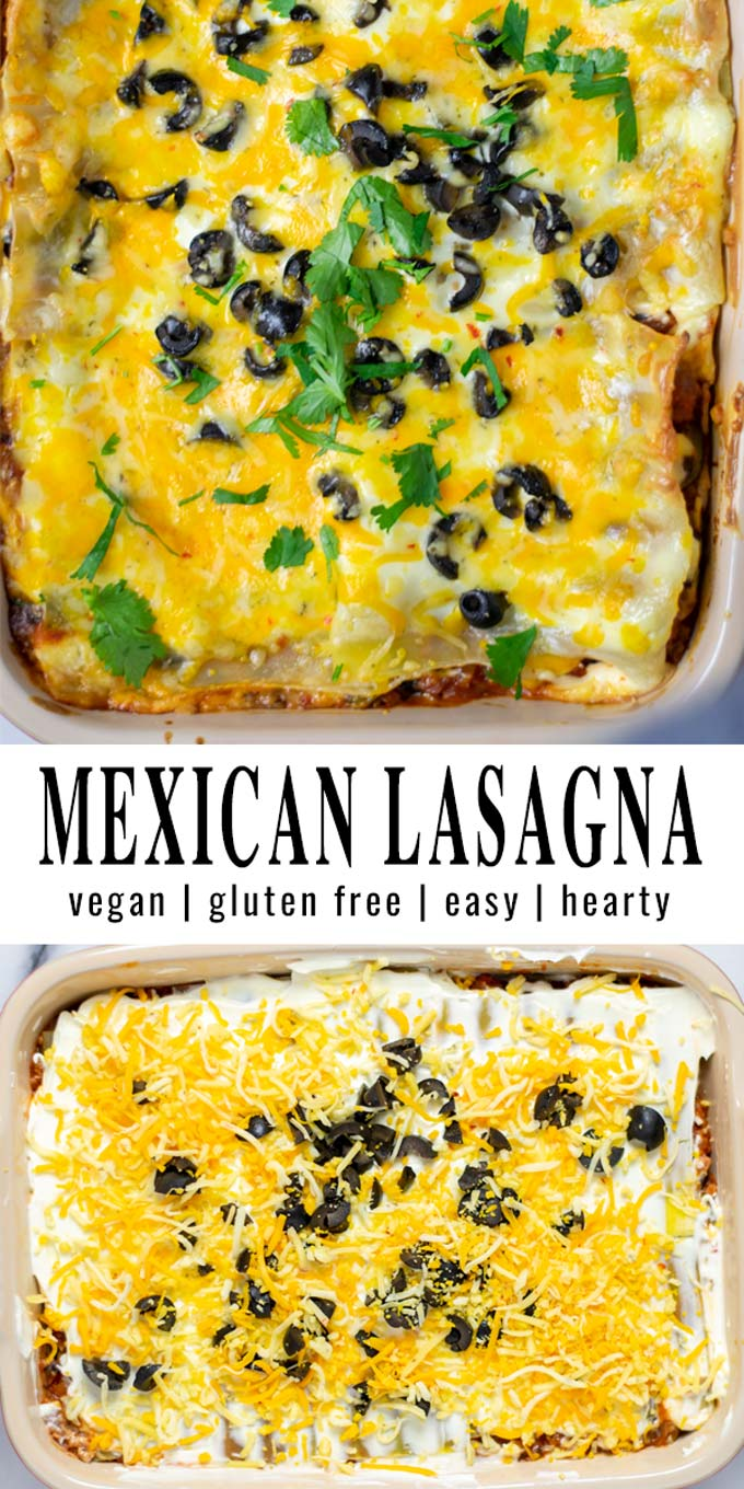 Collage of two pictures of the Mexican Lasagna with recipe title text.