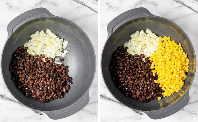Black beans and corn are given to a large bowl with diced onions.