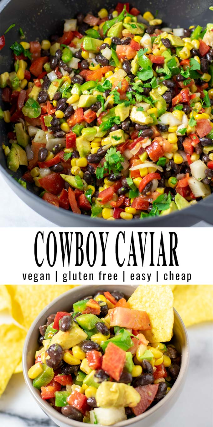 Collage of two pictures of the Cowboy Caviar with recipe title text.