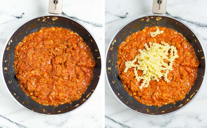 Precooked pasta is mixed with the tomato sauce.
