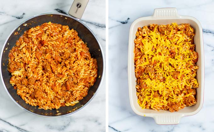 Hamburger Casserole is transferred to a casserole dish and covered with vegan cheese.