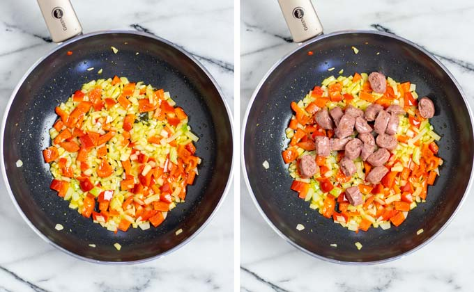 Showing side by side how vegetables are fried in a frying pan.