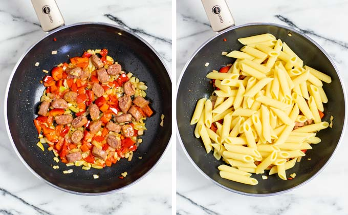 After frying the vegan sausages, pre-cooked pasta is added to the pan.