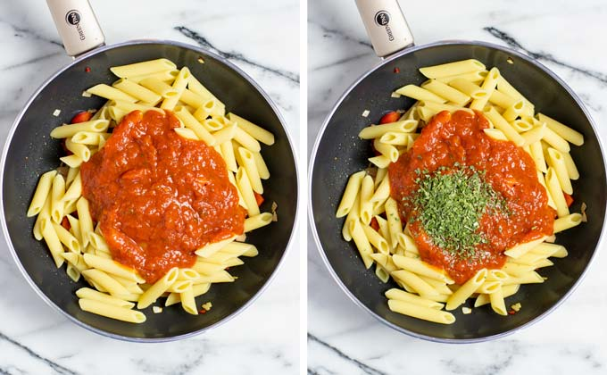 Showing how tomato sauce and Italian herbs are mixed with the pasta, vegetables, and vegan sausage.
