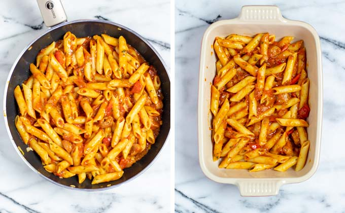 Pasta and sauce mix is given to a casserole dish.