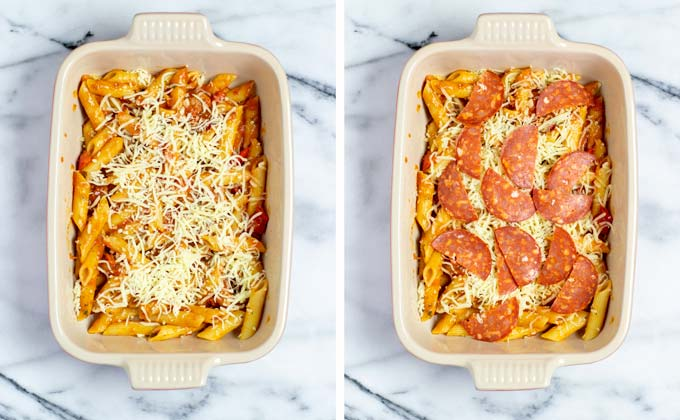 Showing the layering of the vegan Pizza Casserole with cheeses and pepperoni slices.