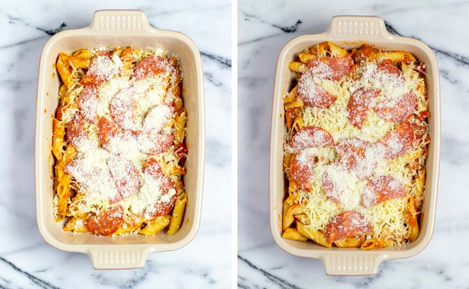 Showing the topping of the Pizza Casserole with vegan cheeses.