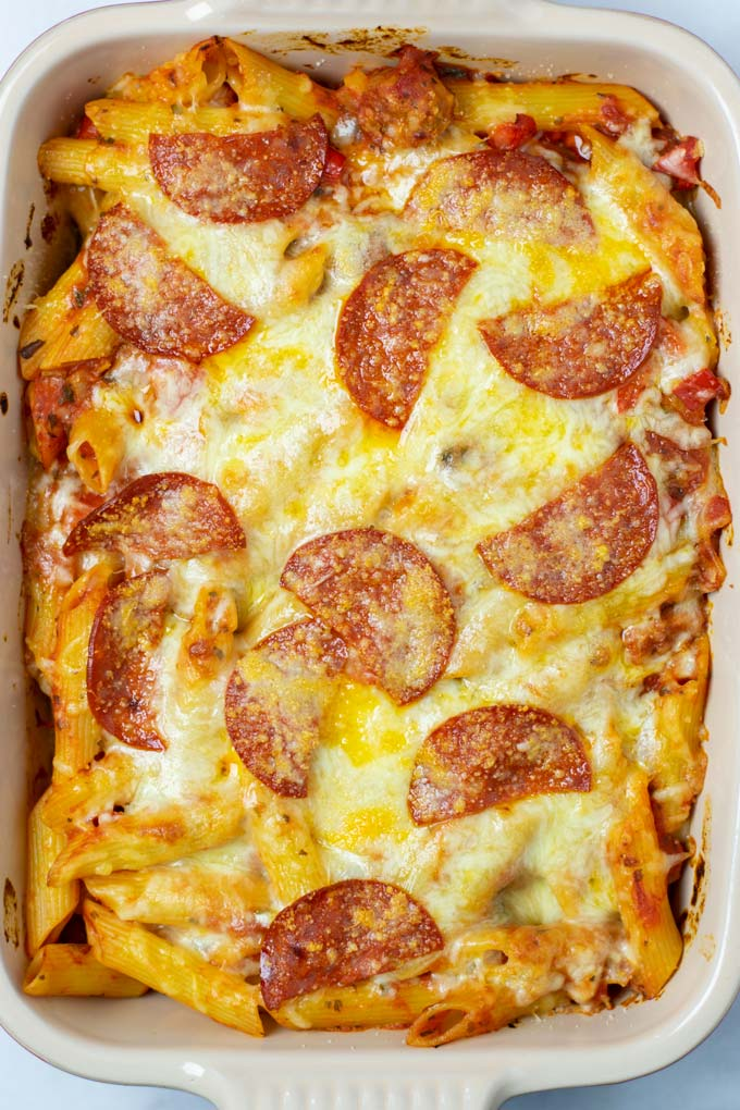 Top view of the vegan Pizza Casserole after baking.