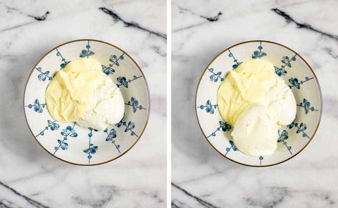 Showing side-by-side how vegan mayo and cream cheese are mixed in a small bowl.